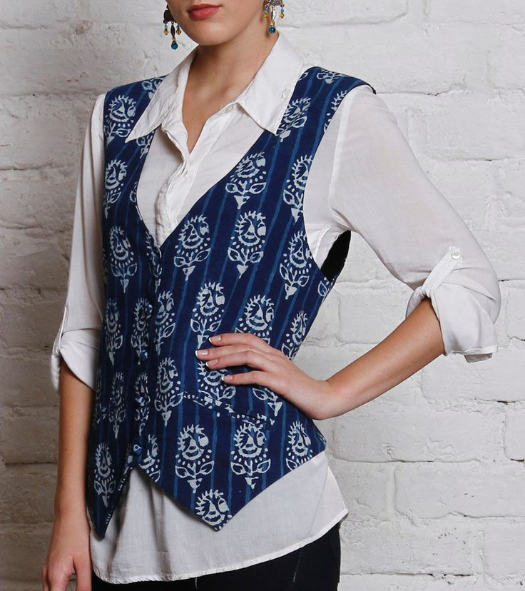 Indigo Blue Hand Dabu Printed Cotton Waistcoat