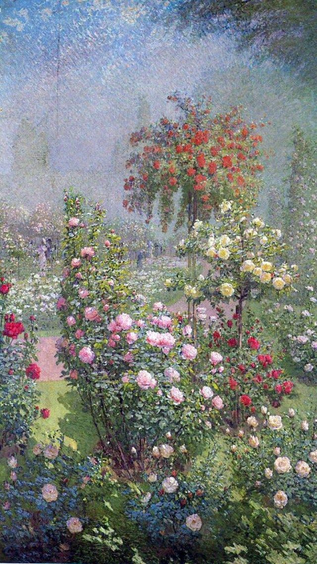 """Flowers 1, by Ernest Quost.   From Julian Simon Fine Art:  The Musee Marmottan hung a painting of flowers by Quost amongst the paintings collected for the exhibition entitled, """" Claude Monet et ses amis"""" Indeed, Van Gogh alluded to a work of Quost, """" aux roses du pere Quost"""", in a letter written to his brother, Theo.  Many of Quost's works were purchased by the State to decorate public buildings for example, Prefecture, Seine-et-Oise and the Museums listed below"""