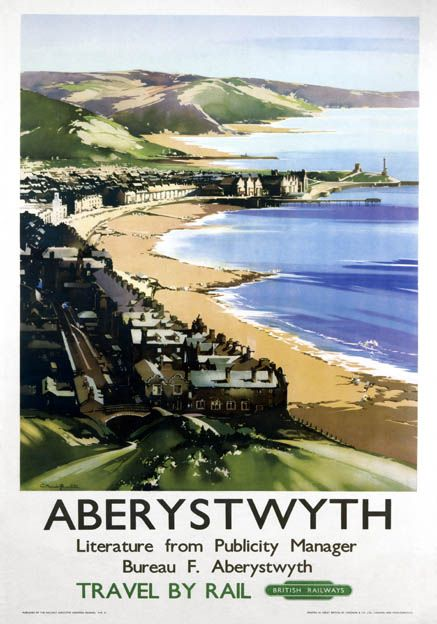 Poster produced for British Railways (BR) to promote rail travel to Aberystwyth, Ceredigion, Wales. The poster shows a view of the coast, with houses overlooking the sea and the pier in the far distance. 1949. Artwork by Claude Buckle, who originally trained as an architect, but later turned to pictorial art. He painted in both oil and watercolour and was a prolific poster artist for Great Western Railway (GWR) and BR. Much of his original poster artwork is held at the National Railway…
