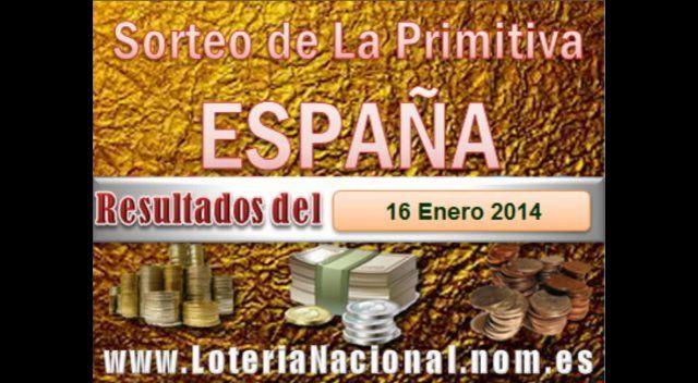 Loteria Nacional presenta La Primitiva resultados sorteo Jueves 16 Enero de 2014. Creditos: www.loterianacional.nom.es