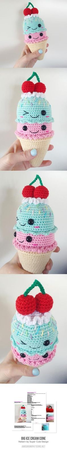 Big Ice Cream Cone Amigurumi Pattern~ (Nova asked for the white bunny ice cream cone, and Zephyr wants a popsicle)