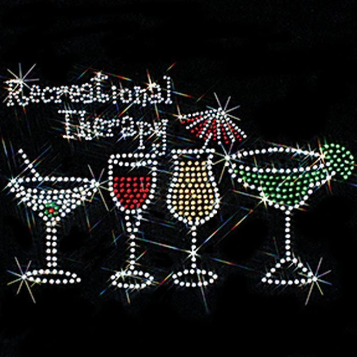 Recreational Therapy Cocktail Glasses Rhinestone Womens SHORT SLEEVE Top 15320