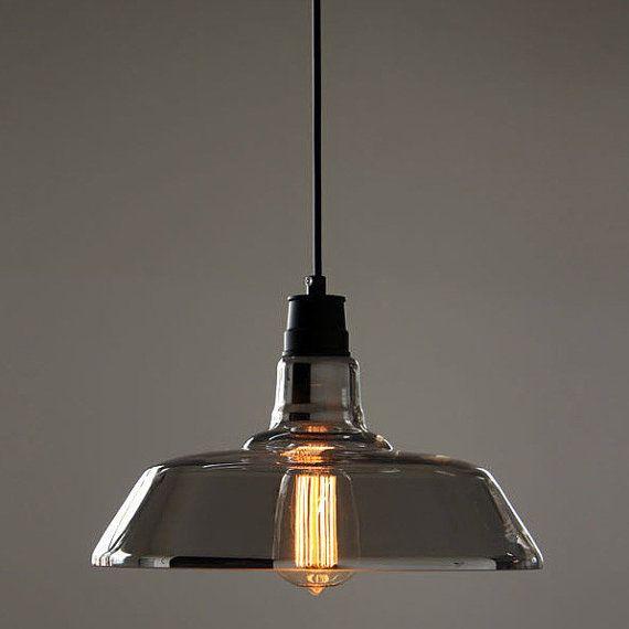 Industrial Pendant Light Ideas: Silver Coated Glass Industrial Pendant Light / Retro