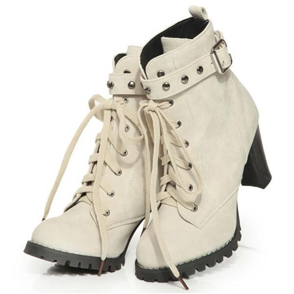 LOVE THESE! Motorcycle Riding Boots for Women   Beige Lace Up Strap Motorcycle Riding Boots for Women Girls