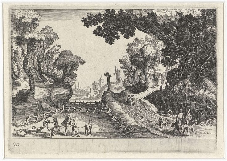 Simon Frisius   Boslandschap met een kruis langs een pad, Simon Frisius, Matthijs Bril, Hendrick Hondius (I), 1611   Boslandschap met diverse figuren, onder wie twee jagers, bij een pad met een groot kruis. Op de achtergrond een molen en een stadsgezicht.