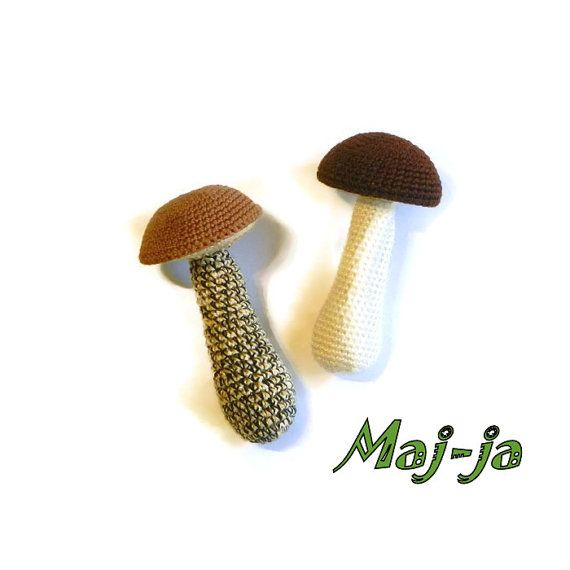 Crochet Set of two Mushroom boletus toy by MajjaCrochet on Etsy Basket with crochet mushrooms Set of 10 different by MajjaCrochet#Crochet #mushrooms #amanita #developing #toy #miniature #eco #Kitchen #decor #daughter #gift #Autumn #Forest #Goods