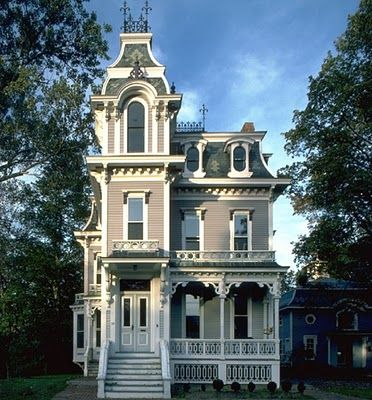 """""""Little House"""" in Kennebunk, Maine was built in 1875 - the architecture is Second Empire. The Carriage House is tucked to the right of the main house under the trees."""