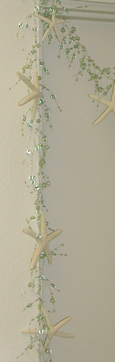 Starfish Garland Beach Decor - Aqua with Starfish; just the beaded garland is also available online. Makes any room into beach house magic.