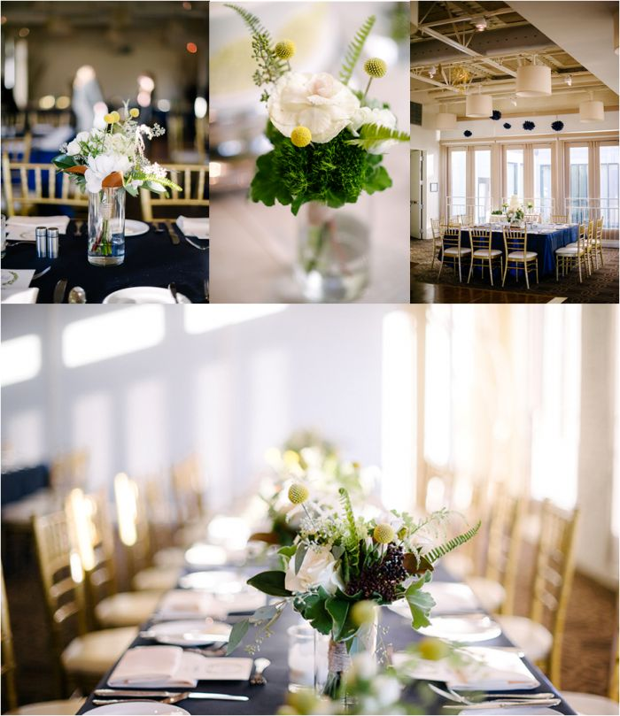 Centerpieces | Navy Rustic Elegance Proximity Hotel Wedding | Julie Livingston Photography | Leigh Pearce Weddings, Greensboro North Carolina Wedding Planner, Stylist, Coordinator