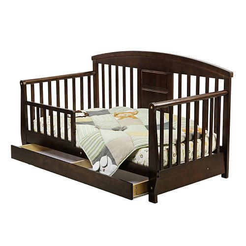 Dream On Me 653, Deluxe Toddler Day Bed looks like a day bed but is designed low to the floor for your toddlers convenience.  Features include removable safety guard rail to prevent accidental falls while sleeping,  roomy storage drawer underneath, wooden mattress support so there is NO need for a box spring, and beautiful  finish. The perfect transitionfortoddlers who have outgrown their cribs but are still too small for an adult bed. This attractive toddler day bed accommodates...
