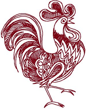 Machine Embroidery Design: Redwork Ornamental Rooster