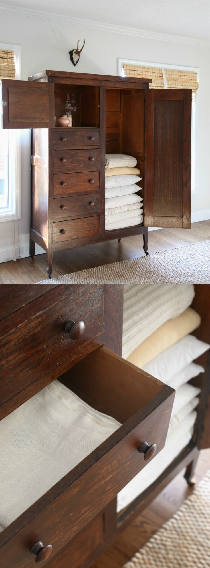 Convert a wardrobe or armoire into a linen cabinet to store extra blankets, pillows, pillow covers, games and more! Perfect for old homes or apartment living.