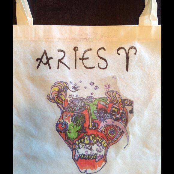 "ARIES TOTE BAG!! American Apparel tote HEY what's your sign?? Hand drawn, screened 50/50 cotton poly tote bag 17.5 by 18"". ZODIAC sign ARIES. ( other signs coming soon)!! American Apparel Bags Totes"