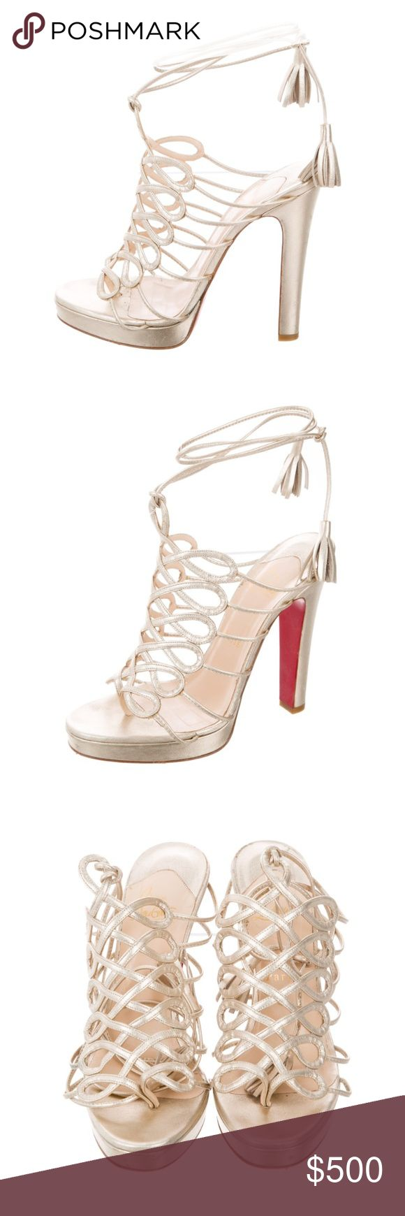 """CHRISTIAN LOUBOUTIN METALLIC CAGE SANDALS Metallic gold leather Christian Louboutin cage platform sandals with tonal stitching throughout, covered heels and tie closures at ankles. Designer Fit: This designer typically runs a half size or full size small. Heels: 5.25"""" Platforms: 1"""" Christian Louboutin Shoes Sandals #christianlouboutingold"""