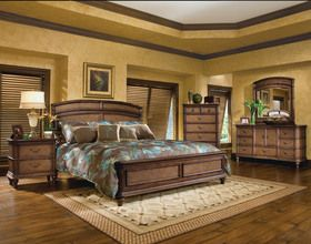 Cool Brown Queen King Panel Bedroom Furniture Set