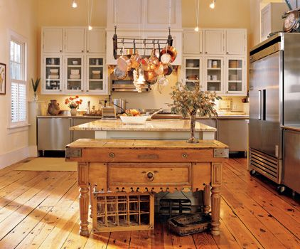 Country Kitchen Islands Kitchen Islands And Hanging Pot Racks