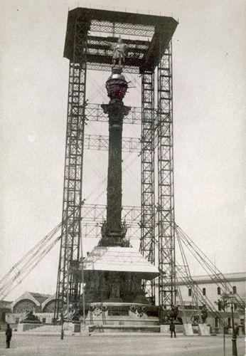 Monumento a Colón en construcción. Barcelona. 1888.