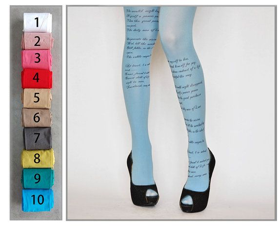 EMILY DICKINSON Poem Printed Tights , Poetry Fashion Tights , Renaissance Literary tattoo tights , Creative gift