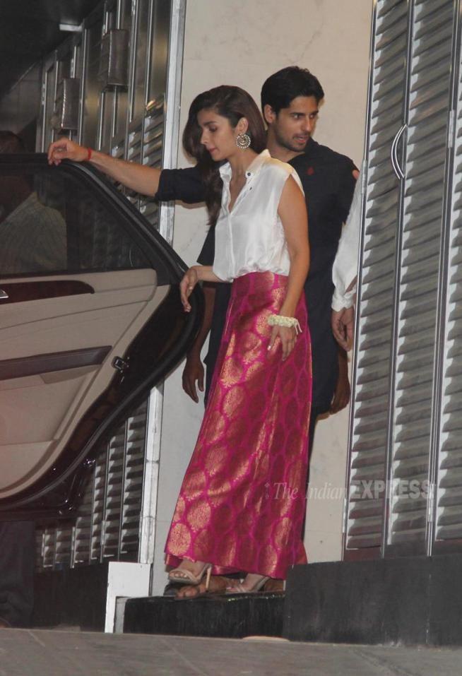 Alia Bhatt with Sidharth Malhotra at Hrithik Roshan's #Diwali party. #Bollywood #Fashion #Style #Beauty #Hot #Handsome