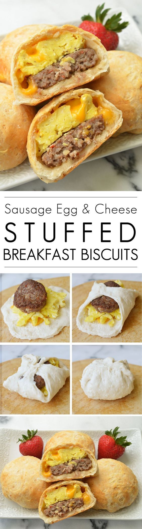 Sausage Egg & Cheese Stuffed Breakfast Biscuits