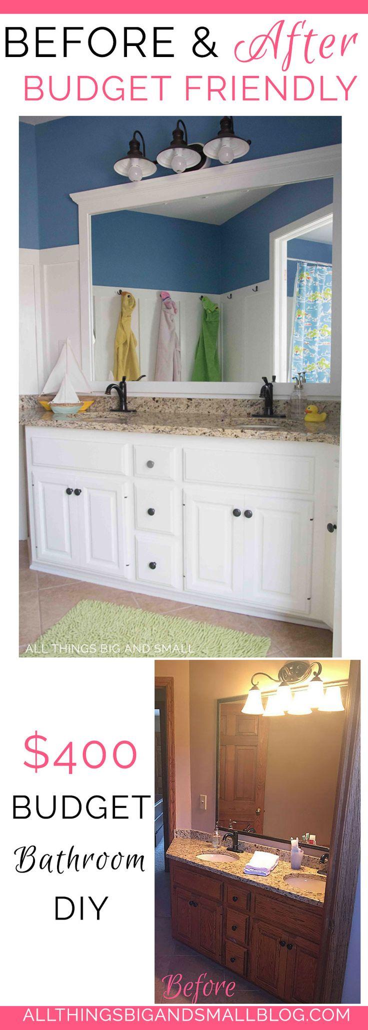 budget friendly bathroom | DIY bathroom | How to Paint Cabinets | Bathroom DIY | ALL THINGS BIG AND SMALL