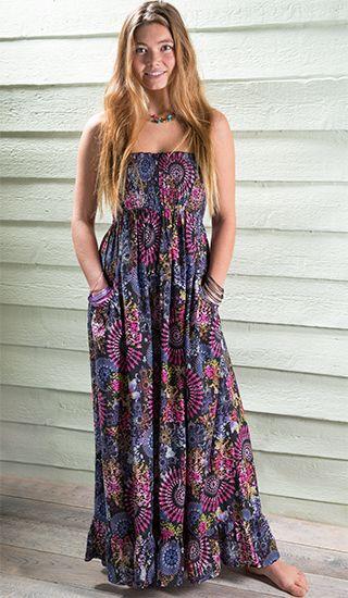 HOLI CHAKRA letní maxi šaty bez ramínek - fair trade oblečení z biobavlny, bambusu, konopí, modalu, tencelu a merino, přírodní kosmetika, bambucké máslo, fairtrade bytové doplňky