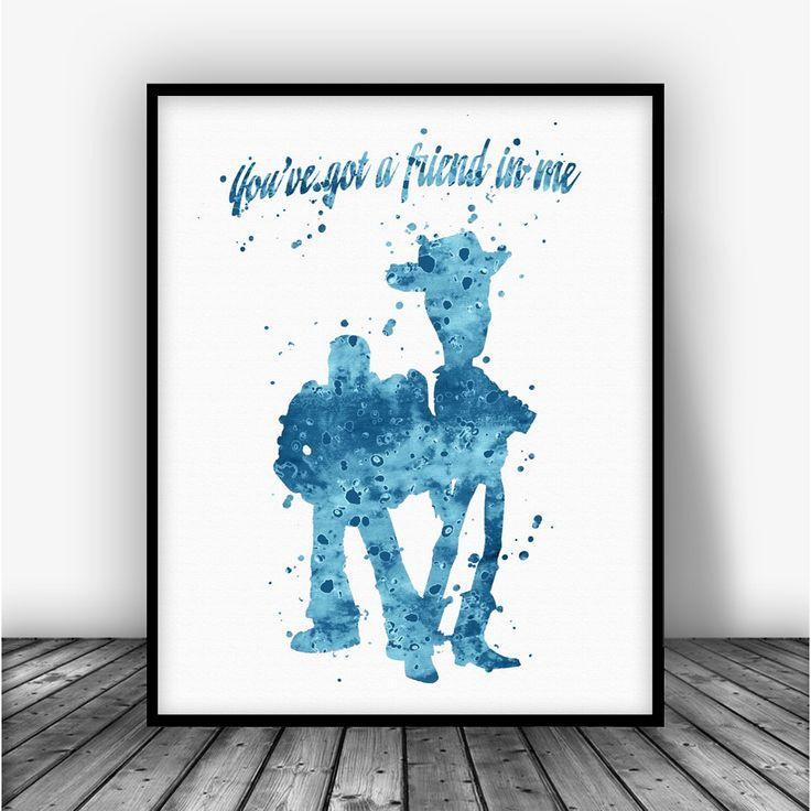 Toy Story Woody and Buzz Art Print Poster From $10.00  #Disney #BoysRoom #KidsRoom #KidsPoster #AllPrints #ChildrensDecoration #BoysDecor #Art #Boys #DisneyPrint