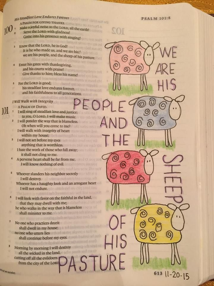 Psa 100:3.  Prismacolor pencils and micron pen. #biblejournaling #illustratedfaith