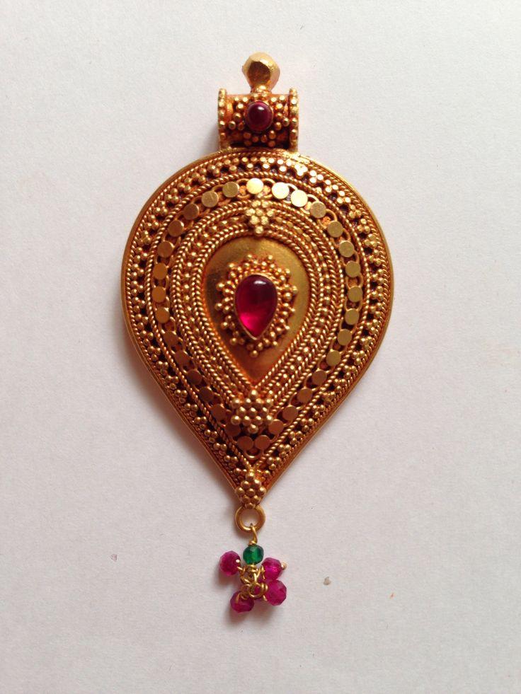 K T ARTS Antique Gold Handmade Pendant..
