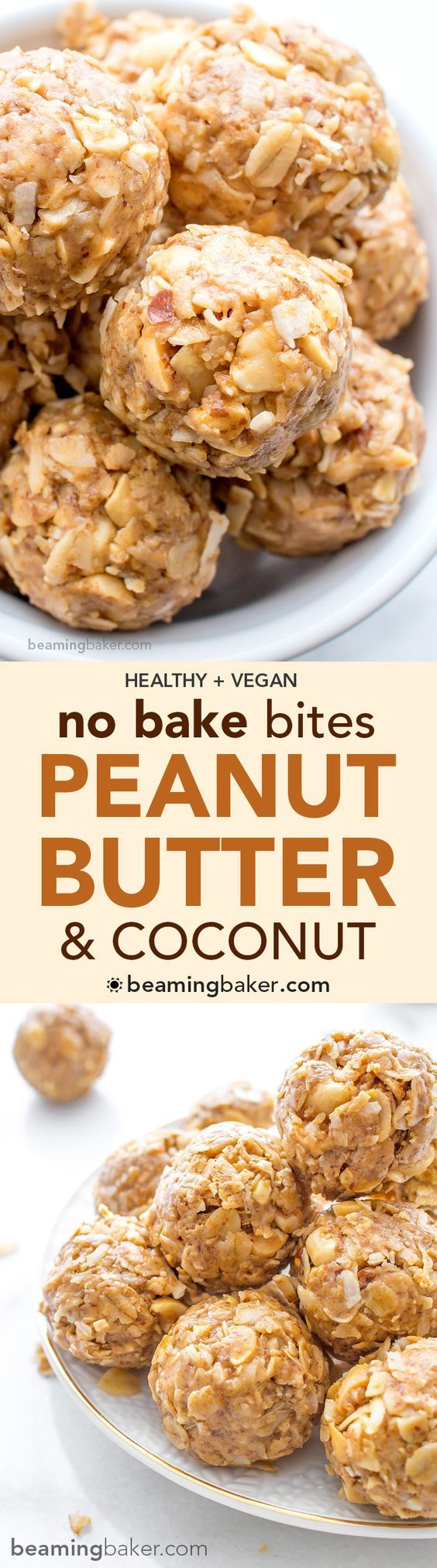 No Bake Peanut Butter Coconut Bites: delicious, easy to make, energy-boosting and super-filling. Made of just 6 simple ingredients, vegan, gluten free and healthy. ☀︎ BEAMINGBAKER.COM #vegan #gluten