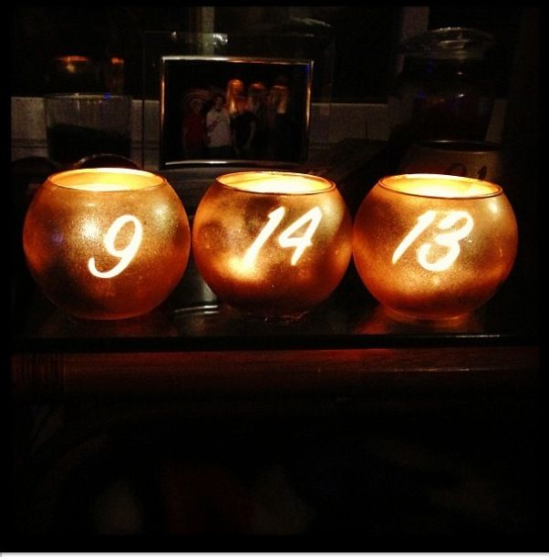 DIY gold table numbers/candle holders | Jenna's wedding | Pinterest | Gold table numbers, Table