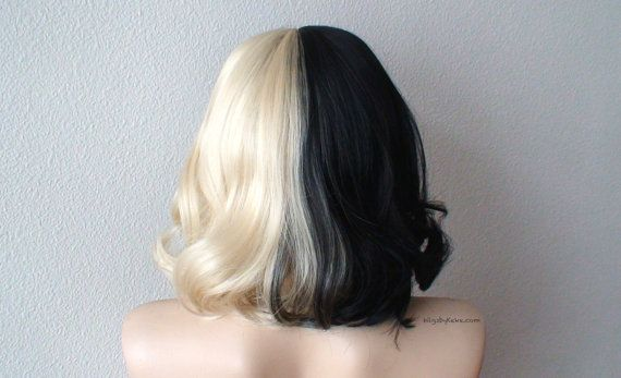 Blonde/Black wig. Half Blonde Half Black wig. Short by kekeshop
