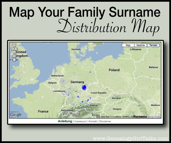 Map Your Family Surname - Distribution Map by Genealogy Girl Talks