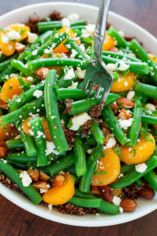 This Green Bean and Quinoa Salad with Maple Citrus Dressing is totally crave-worthy + easily made in advance for an impressive + tasty holiday side dish!