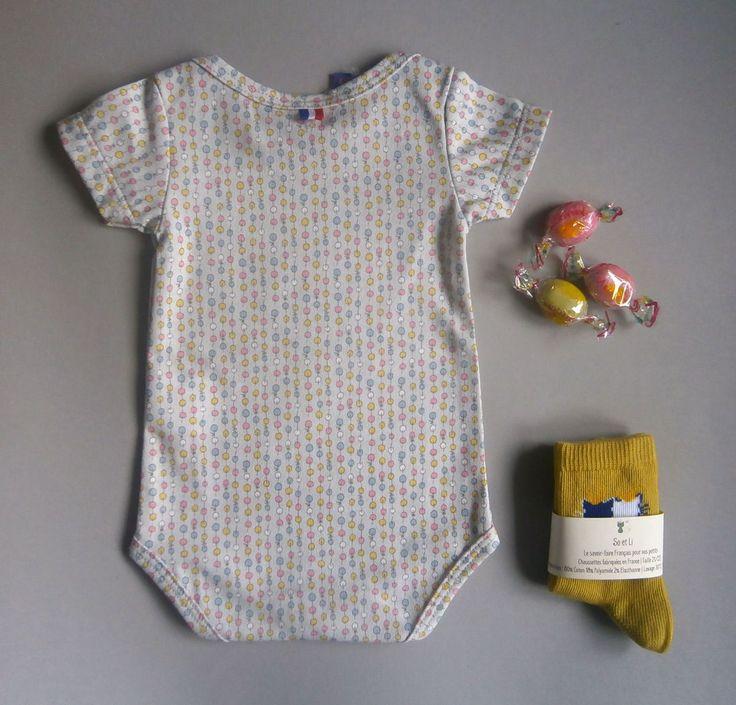 Box bébé | Tout en So et Li | Body ballons roses et bleus et chaussettes Gold