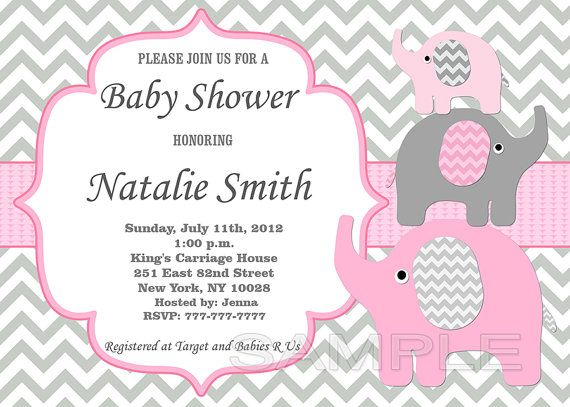 Printable editable girl elephant baby shower invitation and thank you card pink gray - files (doc, pdf, psd) Elephant girl baby shower invitation and thank you card ~ Editable files that you personalize at home ~ You edit all of the text by yourself at home on the computer ~ INSTANT DOWNLOAD .  ►►►YOU change and edit text by yourself ~ YOU edit invitation by yourself at home on the computer◄◄◄  ●You can easily edit text, change wording via the Adobe Reader, Microsoft Word or Photoshop. You ca...