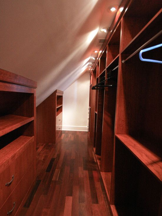 Another narrow long walk-in closet gained by finishing an attic.  Short side, tall side.  Attic Bedroom Closet Design, Pictures, Remodel, Decor and Ideas - page 14