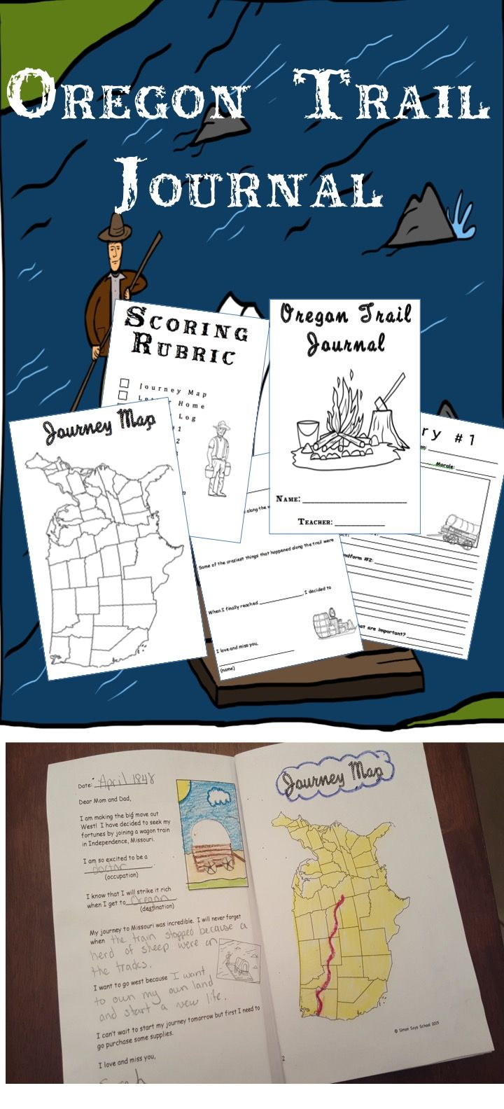 Oregon Trail Journal - Use along with the Oregon Trail Game or as apart of your own unit!