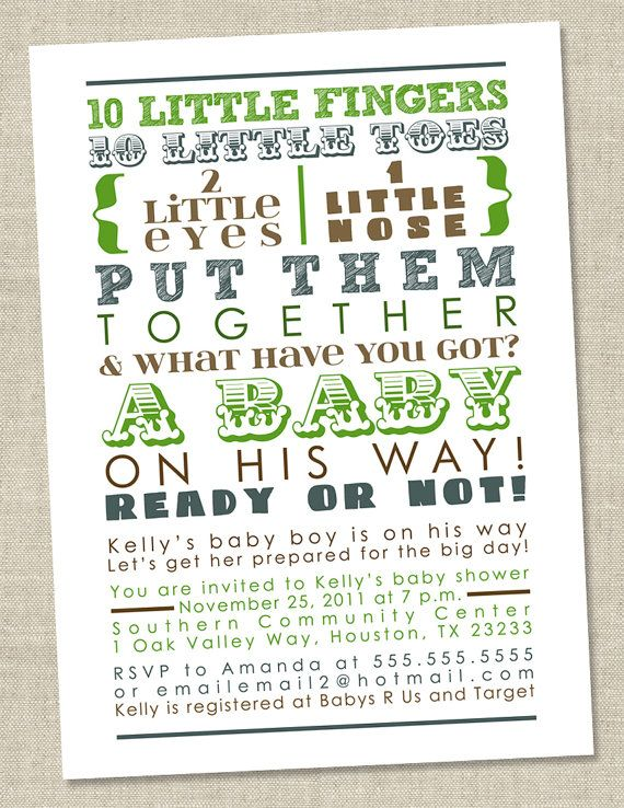 Baby Boy Shower Invitation - blue brown green words, boy boyish (DIY Printable Digital File OR Printed Cards)