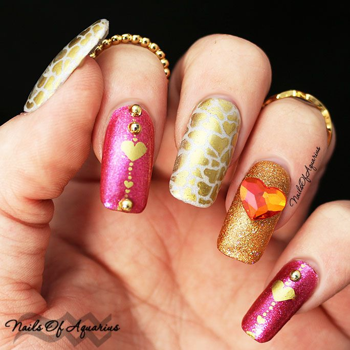 11 best valentines day nail art images on pinterest nail heart of gold valentines nail art featuring literary lacquers prinsesfo Images