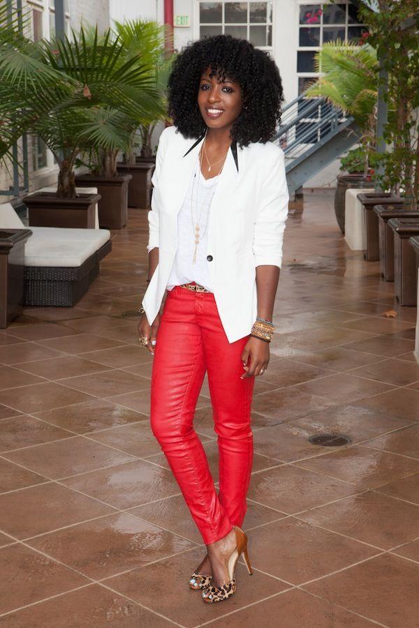 Style Pantry | White Blazer + V-Neck Tee + Leatherette Pants