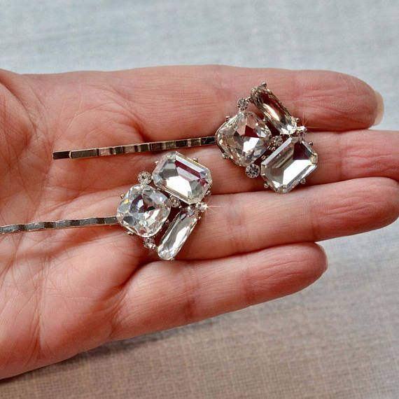 LAST ONE Set of 2 Beautiful Handmade Vintage Inspired Fancy Cut Crystal Rhinestone Hair Pins, Bridal, Wedding (Sparkle-2838)