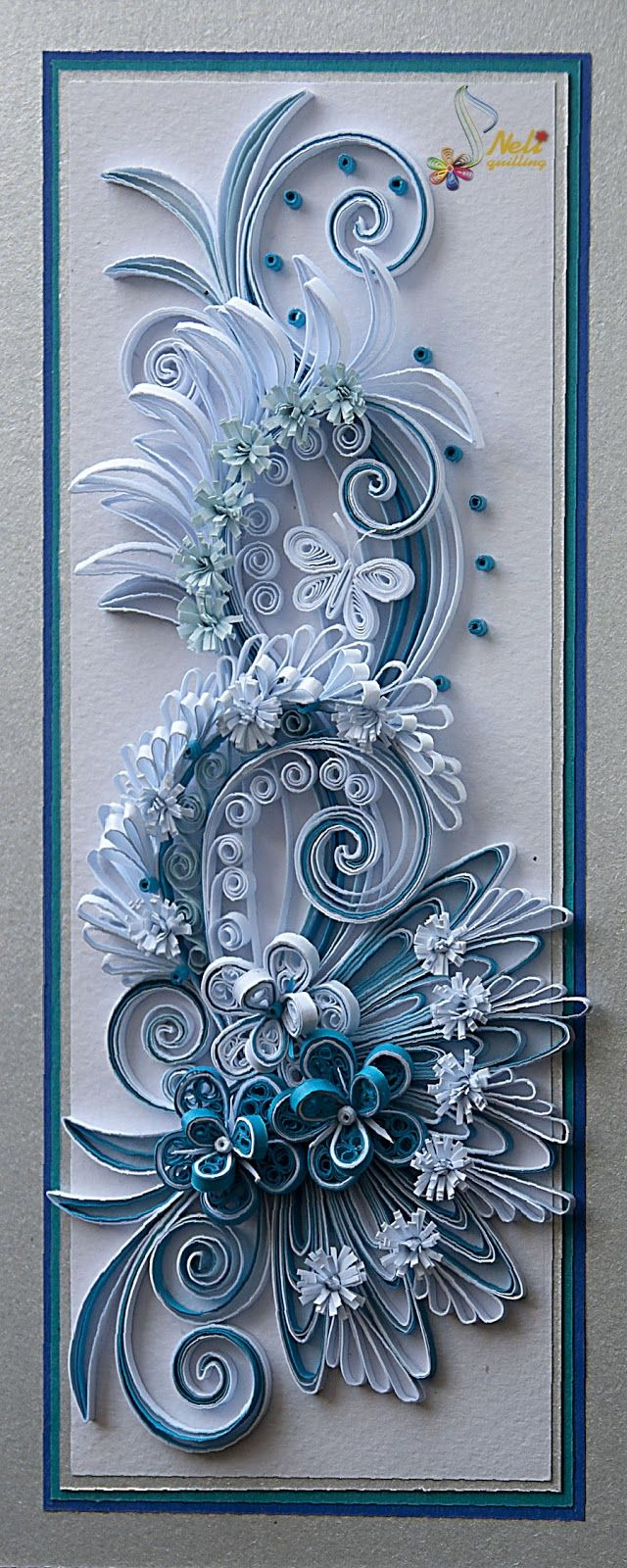 Quilling card - flowers ( 9 cm - 20 cm )