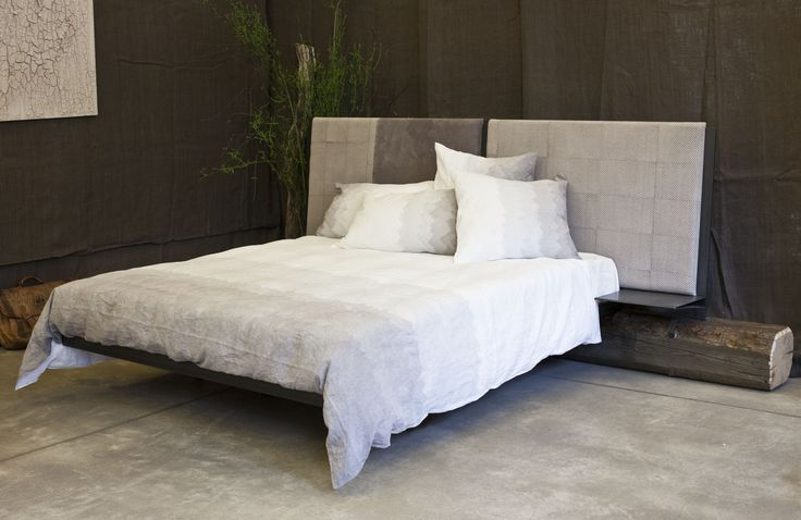 steel, fabric and recycled wood bed #furniture #bed #harriedesign