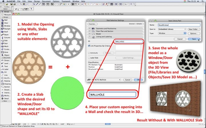 """To create a non-rectangular opening, use a Slab with the ID """"WALLHOLE"""" to get the right opening shape  Read the TechNote on ArchiCADWiki: http://www.archicadwiki.com/CustomShapeDoorWindow"""