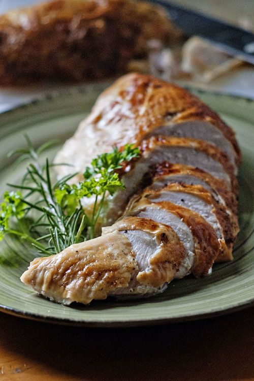 The moistest, most tender turkey breast, EVER! If a whole turkey is too much for you and you won't miss the dark meat, just buy a turkey breast! It's much easier to handle, cooks quicker and allows you to cook the breast to tender, moist perfection! This recipe uses a flavorful brine to hydrate the meat and plump up those cells so they retain all the moisture during roasting. And don't worry, you can still make gravy from the drippings! The best!