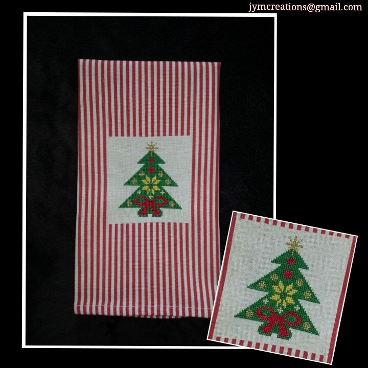 Do you need some help with your Christmas decor or just want to give something special to your dearest ones in this holiday? Contact us, we have beautiful ideas for you! - All our designs are customized - jymcreations@gmail.com. #Handmade #Crossstitch #Handtowel #Christmas