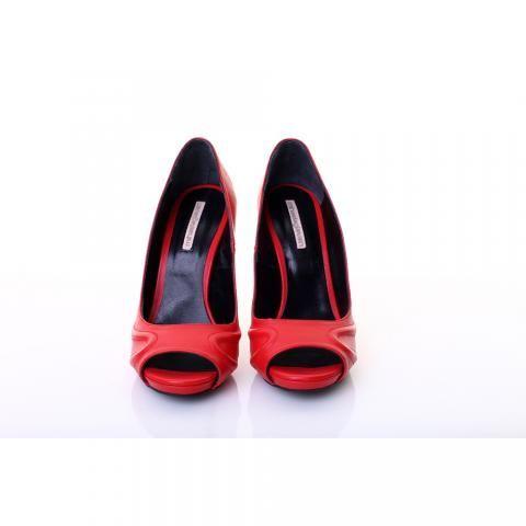 Pantofi piele rosie decupati | The Boutique