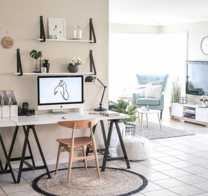 bureau scandinave tapis rond et chaise