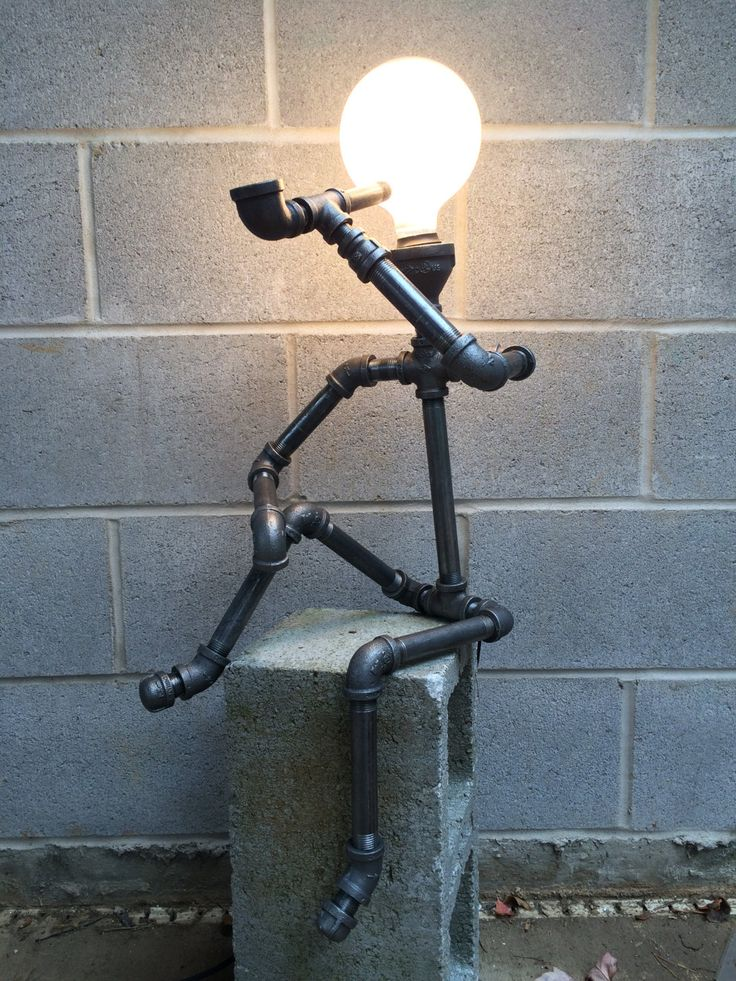 Metal pipe lamp sculpture by creativepipelamps on etsy for How to make a pipe lamp